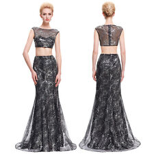 Mermaid Bridesmaid Sexy Sequined Two-Piece Set Gown Evening Prom Party Dress New