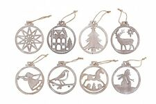 Shabby Chic Natural Wooden Cut Out Christmas Tree Decorations - Xmas Hangers