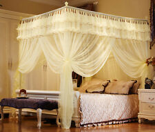 Yellow Luxury Lace 4 Post Bedding Curtain Canopy Mosquito Net Twin Queen Size