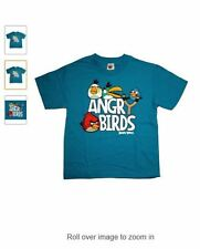 ANGRY BIRDS SLINGSHOT Youth Kids Blue T-Shirt - Red Bird - Licensed