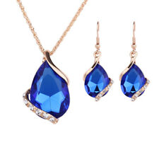 Wedding Bridal Ladies Teardrop Rhinestone Crystal Necklace Earrings Jewelry Set