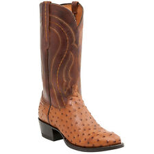 LUCCHESE M1606 R4 MENS TAN BURNISHED FULL QUILL OSTRICH COWBOY BOOTS