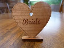 Personalised Wooden Place Name Settings : Heart Wedding Meal Table Name Cards