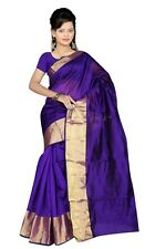 Bluish Purple Indian Art Silk Sari Saree Fabric Bollywood Saree Curtain Veil