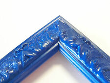 Small Regal Blue Victorian Wood Ornate Picture Frame-Custom Standard Sizes
