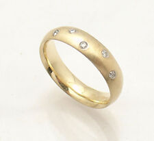 Natural Diamond Accent Wedding Band Ring Real 14K Yellow Gold 5 Stones