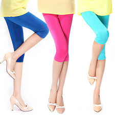 New Vogue Women's Candy Color Stretchy Cropped Leggings Slim Sexy Shorts Pants