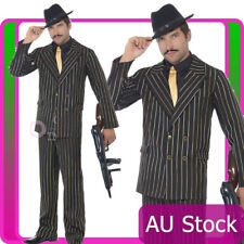 Mens 20s 1920s Gold Pinstripe Gangster Costume Male Boss Razzle Fancy Suit 20's