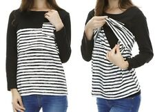 Nursing Breastfeeding Stripe Top Black & White BNWT