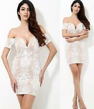 Beige White Lace Short Sleeve Off The Shoulder V Neck Bodycon Mini Dress Hot NWT