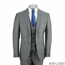 Mens 3 Piece Prince of Wales Check Suit in Grey Slim Fit Smart Formal Vintage