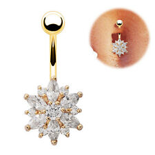 Cool Belly Button Ring Crystal Rhinestone Flower Jewelry Navel Body Piercing