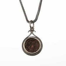 sterling silver ancient coin necklace, men's & women's silver pendant necklace