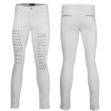 Mens Boys White Italian Designer Style Skinny Fit Funky Ripped Metal Studs Jeans