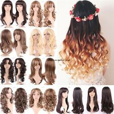 Womens Wig Cosplay Full Wigs Cap Hair Nets Long Straight Curly Wavy Fancy Dress