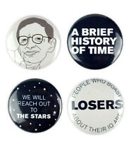 Stephen Hawking Badges, buttons, science, cosmos, brief history of time, book