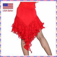 SFS022RD Fashion Ladies Ballroom Smooth Velvet Latin Tango Dance Short Skirt