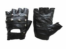 MOTORCYCLE STUDDED FINGERLESS LEATHER GLOVES