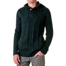 D-LUX Men's Cotton Cable-Knit Hooded Sweater