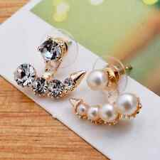 New Elegant Fashion Silver/Gold Women Pearl Crystal Rhinestone Ear Stud Earrings