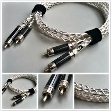 One Pair OCC Copper Silver Plated Carbon Silver RCA Analog Audio Cable