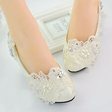White Lace Floral Bridal Wedding Shoes High Heels Flat Platform Perform 016 L
