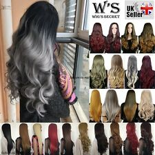 25'' Long Straight Curly Wavy Ombre Hair Wigs Fall Half Wig Natural Elegant UK