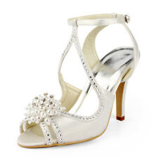 Vintage White Ivory High Heels Bridal Shoes Pumps Pearls Crystal Peep-toe Shoes