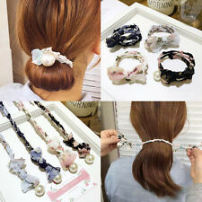 Women Girls Bowknot Rubber Band Pearl Headband Clip Hair Accessories 7 Styles