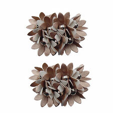 Light Copper Flower Ladies Shoe Clip Pair - Shoe Jewellery Pair