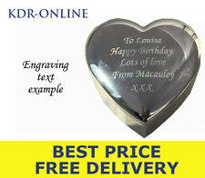 Personalised Engrave Heart Trinket Box Engraved TEACHER BIRTHDAY WEDDING GIFT