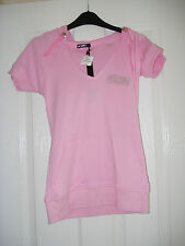 BNWT Size 8 Girls Pink Hoodie Top Short Sleeves Silver Sparkly Motif Decoration