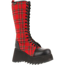 Women's SCENE-100 Platform Goth Punk Lolita Red Plaid Knee High Boots-Red-Black