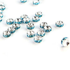 100Pcs 8mm Silver Plated Charm Czech Crystal Spacer Rondelle Beads Findings Hot