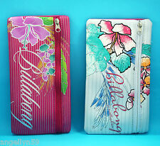 BILLABONG School Pencil Case Cosmetics Travel Bag Girls Pink OR White Flower NEW