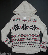 Justice hooded long sleeve fair isle ivory red black sweater girls size 5 or 6