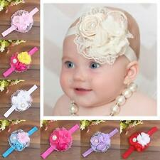 Infant Baby Girls Cloth Elastic Rose Pearl Flower Hairband Headband Accessory