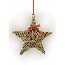 Grey wicker Christmas star with bells, bow and white Led lights. Shabby chic