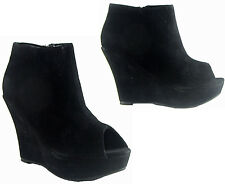 NEW WOMENS LADIES PEEP TOE PLATFORM WEDGE HEELS SHOE BOOT SIZE 4 - 7