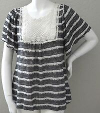 A'reve Striped Sweater Knit Crochet Inset Tunic Top Blouse Plus XL 1XL 2XL New!