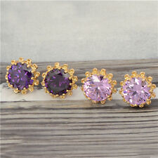 Stunning 18K Yellow Gold Filled crystal Crystal Womens Sunflower Stud earing