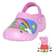 NEW Peppa Pig Girls Pink Rainbow Scene Crocs Clogs Sandals Shoes size S-L CHOP