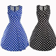 New Fashion Women Ladies Polka Dot Dress Sleeveless Causal Summer Party Dress