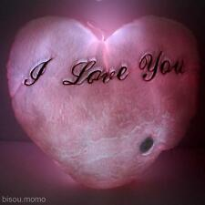 "LED Light Love Heart ""I Love you"" Glowing Soft Plush Pillow Cushion Home Decor"