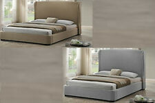 MODERN BEIGE TAN OR GRAY GREY LINEN PLATFORM QUEEN BED FRAME WING BACK HEADBOARD