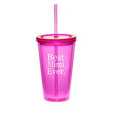 16oz Double Wall Acrylic Tumbler Pool Beach Cup With Straw Best Mimi Ever