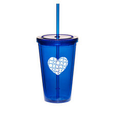 16oz Double Wall Acrylic Tumbler Cup Mug w/ Straw Heart Puzzle Autism