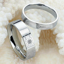 Lovers Lock Key Silver Crystal Couple Rings Her and His Promise Ring Band Hot