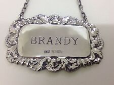 Solid Silver Decanter Label by Crisford & Norris Birmingham 1961