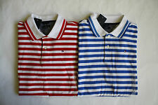 NWT Boys Tommy Hilfiger Red Blue Striped Short Sleeve Mesh Polo Shirt L 16/18